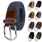 Braided Waistband Fashion Stretch Casual Buckle Men's Elastic Belt Woven Unisex