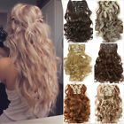 100% Real Human Clip In Full Head Hair Extensions Long Curly Wavy Fake Synthetic