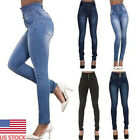 US Womens Denim Skinny Tight Pants High Waist Stretch Jeans Long Pencil Straight