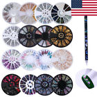 3D Nail Art Rhinestones Beads Studs Decoration Wheel Box & Wax Pen Picker Tool