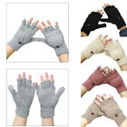 Lady Womans Fingerless Capped Half Gloves Winter Warm Shooting Mittens 2 In 1 EW