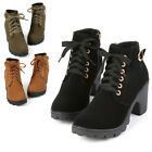 New Ladies Women Lace Up Chunky Block Heel Grip Sole Ankle Boots Zip Up Shoes EW