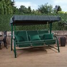Turin 3 Seater Garden Reclining Swing Seat - Green Frame with Luxury Cushions