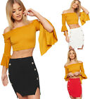 Womens Gold Button Accent Mini Skirt Ladies Elasticated Stretch Crepe Bodycon