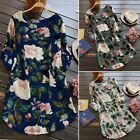 ZANZEA Women's Floral Print Mini Dress Summer Party Long Shirt Dress Plus Size