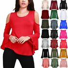 Ladies Womens Cold Cut Out Shoulder Peplum Ruffle Bell Sleeve Swing Flared Top