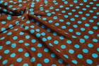 Double Sided Supersoft Cuddlesoft Fleece Fabric Material - BROWN BLUE SPOT