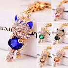 Women Fashion Key Chains Lucky Smile Kitten Keyring Hollow Rhinestone EN24H 07