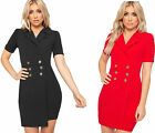 Womens Gold Button Short Sleeve V-Neck Stretch Bodycon Mini Blazer Dress Ladies