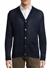 Polo Ralph Lauren Men's Navy Blue Linen V-Neck Buttoned Cardigan Sweater