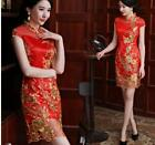 Fashion Lady Wedding Bride slim Chinese Womens Dress QiPao Party Mini Dresses
