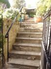 Bespoke Wrought Iron Garden Handrail with Posts, outside handrail for steps