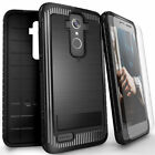 Rugged Anti-Shock Case+Tempered Glass Cover for ZTE Max XL Blade X Max Max Blue