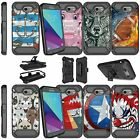 For Samsung Amp Prime 2 Dual Layer with Stand Holster Clip Case - Animal Designs