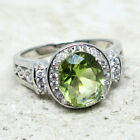 GORGEOUS 3 CT OVAL PERIDOT GREEN 925 STERLING SILVER RING SIZE 5-10