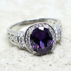LOVELY 3 CT OVAL AMETHYST PURPLE 925 STERLING SILVER RING SIZE 5-10