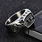 Vintage Mens Silver Stainless Steel Gothic Masonic Biker Rings Jewelry lots 8-14