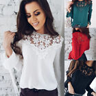 Summer Women Lace Chiffon Long Sleeve Shirt Loose Blouse Lady Casual Tops S-XL