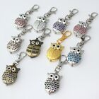 10pcs Mixed Bulk Colorful OWL Quartz Pendant Pocket Key Ring Chain Watches GL03T image