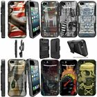 For iPhone 5 | 5s | iPhone SE Dual Layer + Stand Holster Case - Animals & Skulls