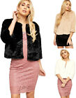 Womens Faux Fur Lined Long Sleeve Button Short Coat Top Ladies Cropped Jacket