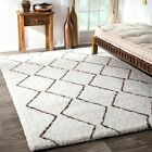 nuLOOM NEW Handmade Geometric Shag Area Rug in Off White and Brown Detail