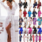 Women Sexy Lace Mesh Satin Robe Kimono Dress Gown Babydoll Sexy Belt Sleepwear