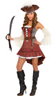 Ladies Sexy Castaway Pirate Bucaneer Fancy Dress Costume Outfit With Hat UK 8-16