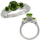 1.25 Carat Green Diamond Three Stone Wedding Promise Bridal Ring 14K White Gold