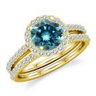 0.75 Carat Blue Diamond Engagement Bridal Fancy Halo Ring Band 14K Yellow Gold