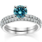 0.50 Carat Blue Diamond Engagement Bridal Solitaire Ring Band 14K White Gold