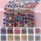 10 Meters Single-row Crystal Rhinestones Diamante Claw Cup Chain Trims 33Colors