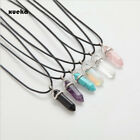 Hexagonal Column Natural Crystal Pendants Pink Stone Chains Necklace For Women