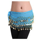 USA Multi-color Belly Dance Hip Skirt Scarf Wrap Belt Hipscarf 3 Rows Gold Coins