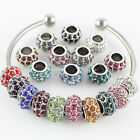 12mm Czech Alloy Crystal Charm Spacer Big Hole Loose Beads Fit European Bracelet