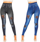 Womens Pearl Jewel Ripped Stretch High Waisted Denim Look Leggings Ladies