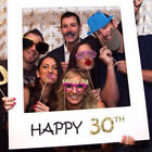 UK 16/18/30/40/50/60/70th Frame Photo Booth Props Happy Birthday Paper Party EW