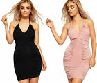 Womens Strappy Halter Neck Party Dress Ladies Sleeveless Ruched Mini Bodycon