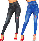 Womens Floral Diamante Denim Look High Waisted Stretch Leggings Ladies Jeggings