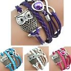 Women Casual Wide Rope Braided Layered Plastic Pearl Owl Pendant Bracelet RR6