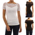 Women's Floral Lace Short Sleeve Lace Up Slim Summer Top T Shirt Mesh Top GIFT