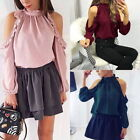 Womens Halter Cold Off Shoulder Ruffle Long Sleeve T-shirt Casual Tops Blouse