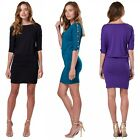 Chelsea Clark Women's Stretchy 3/4 Sleeve Mini Dress Tunic Pearls Details 734