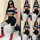 Women Letter Top + Pants Set Two Piece Outfits Playsuit Bodysuit Jumpsuit P8S3