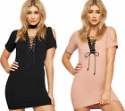 Womens Eyelet Lace Tie Bodycon Dress Ladies Choker Cold Shoulder Short Sleeve