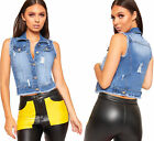 Womens Ripped Distressed Sleeveless Cropped Denim Waistcoat Ladies Frayed Top