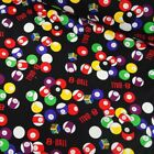 100% Cotton Fabric 8-Ball Pool Snooker Billiards Balls & Chalk 140cm Wide £6.4 GBP on eBay