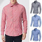 Fashion Mens' Plaid Button Down Casual Shirts Summer Plaid Long-sleeved Shirts