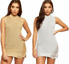 Womens Cable Knitted Lurex Ripped Distressed Sleeveless Ladies Mini Jumper Dress