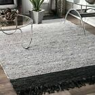 nuLOOM Contemporary Modern Leather Cotton Blend Area Rug in Black, Silver Grey